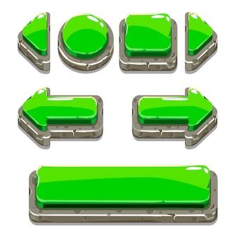 Boutons de pierre verte de dessin animé pour le jeu