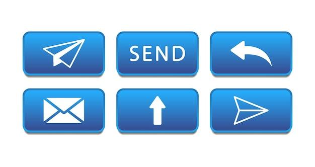 Boutons pour envoyer un message. envoyer des boutons. illustration d'icônes de courrier