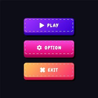 Boutons de réglage de l'interface utilisateur du jeu