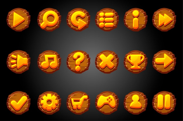 Boutons ronds en bois pour l'interface graphique du jeu.