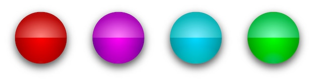 Boutons ronds brillants. boutons lumineux de couleur isolés