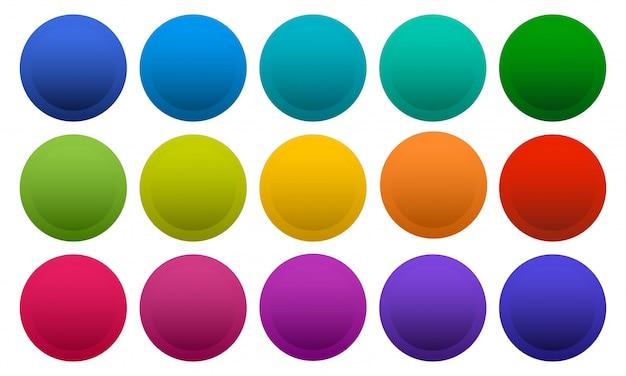Boutons ronds colorés isolés sur fond blanc, couleurs arc-en-ciel.