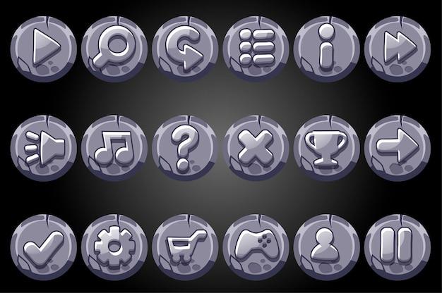 Boutons ronds en pierre ancienne pour l'interface graphique du jeu.