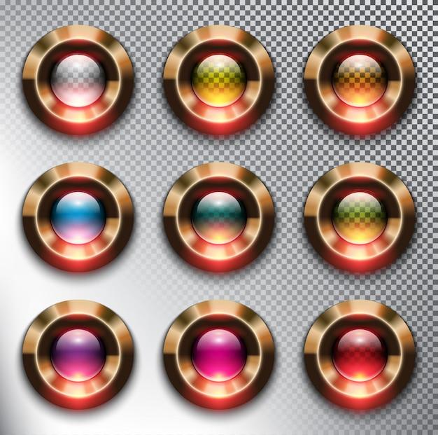 Boutons ronds en verre avec cadre en bronze métallique. isolé sur le fond blanc.