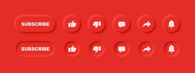 Boutons de site web neumorphic ui design elements sur fond rouge abstrait