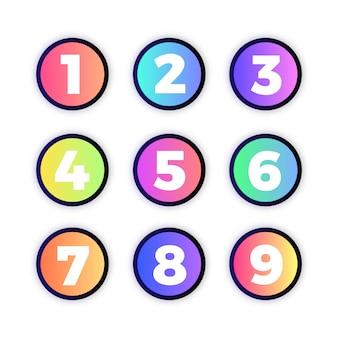 Boutons de site web avec des numéros