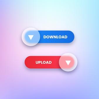 Boutons de téléchargement et de téléchargement transparents