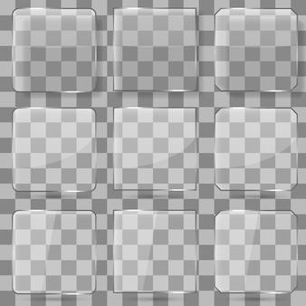 Boutons de vecteur carré en verre pour applications mobiles