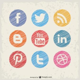 Boutons de vecteur de médias sociaux fixés