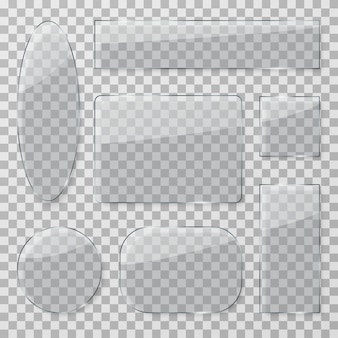 Boutons en verre transparent. plaques transparentes brillantes en plastique. ensemble isolé de textures rectangulaires et rondes en verre brillant
