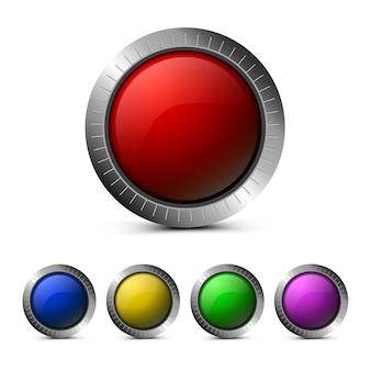 Boutons de verre vides en rouge, vert, bleu, jaune et violet