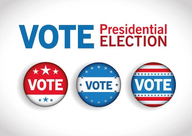 Boutons de vote pour l'élection présidentielle aux états-unis avec des étoiles, le thème du gouvernement et de la campagne