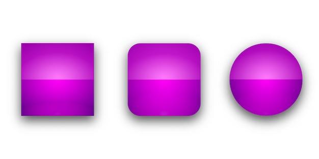 Boutons web brillant avec ombre. boutons isolés