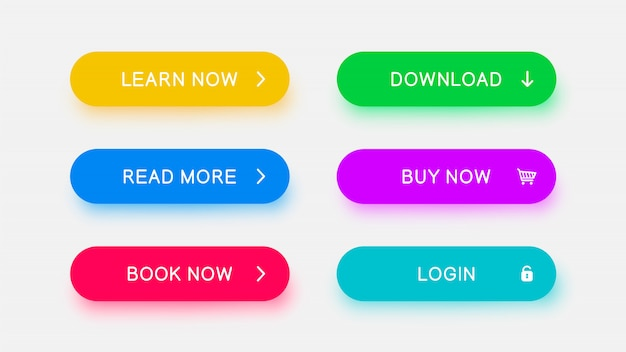 Boutons web monochromes brillants de couleur bleue jaune, bleue, rouge, verte, violette et brillante