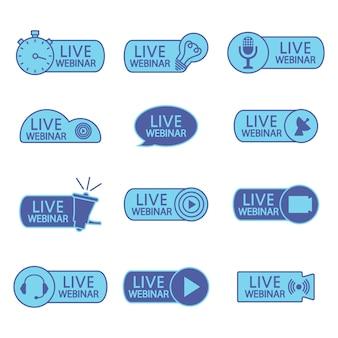 Boutons de webinaire en direct icônes de couleur bleue pour la conférence vidéo d'enseignement à distance en ligne