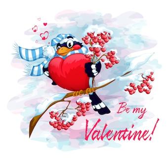 Bouvreuil sur une branche avec un bouquet de cendre de montagne. carte de saint valentin.