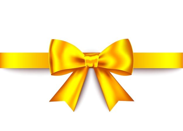 Bow cadeau réaliste or avec ruban horizontal isolé sur fond blanc
