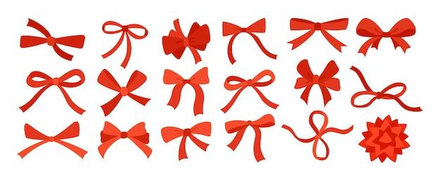 Bow ruban rouge cartoon set emballage de décoration
