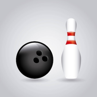 Bowling design sur illustration vectorielle fond gris