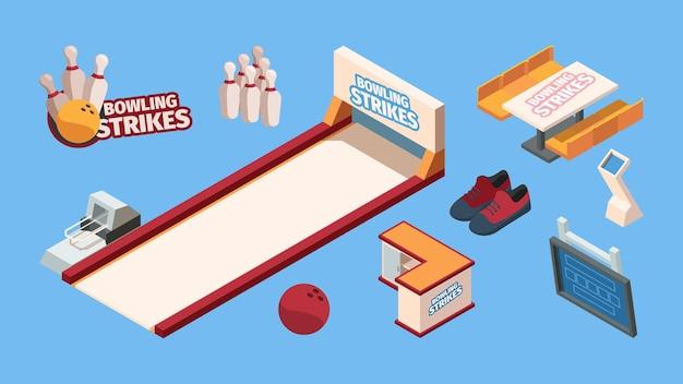 Bowling isométrique. club d'amusement de loisirs de sport pour les joueurs de bowling, chaussures de boules, jeu de vecteurs de coupe de trophée de quilles. jeu de bowling d'illustration, équipement isométrique de sport de loisirs