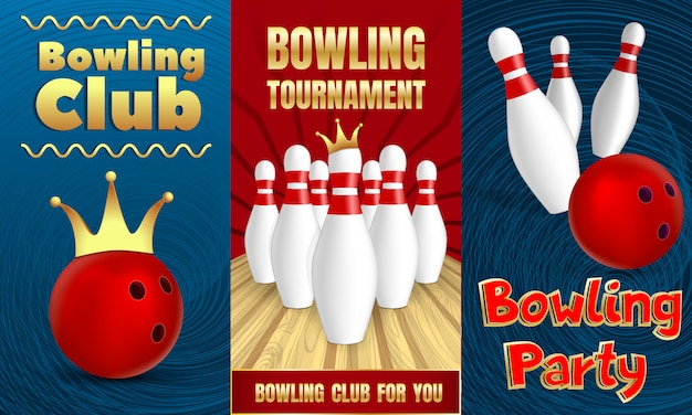 Bowling party banner set