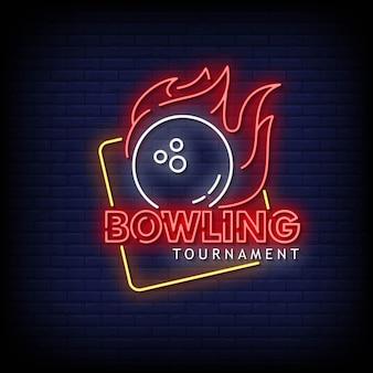 Bowling tournament neon signs style texte vecteur