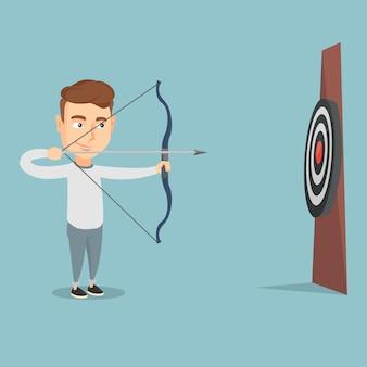 Bowman visant avec un arc et une flèche sur la cible.