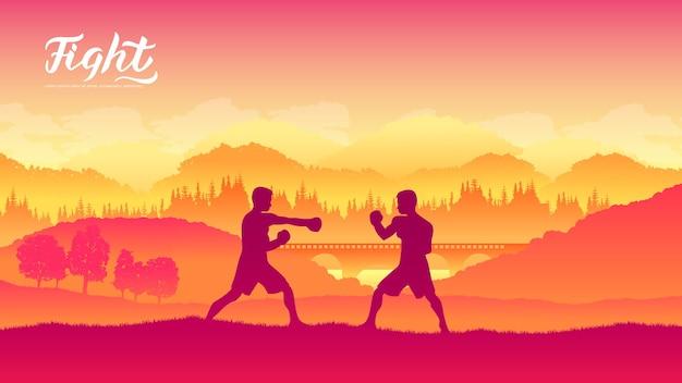 Box guerriers arts martiaux de différentes nations du monde. combats traditionnels sans armes.