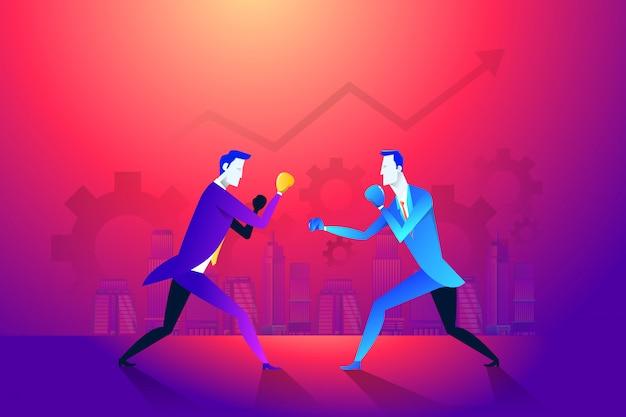Boxe et gant, hommes d'affaires et violence, force du boxeur.