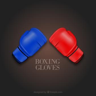 Boxe icônes vectorielles gants colorés