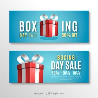 Boxe jour vente bannière bleu