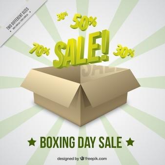 Boxe vente day background avec boîte en carton
