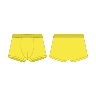 Boxer en croquis technique de couleur jaune. caleçons boxeurs pour garçons isolés.