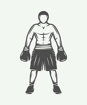 Boxer rétro vintage peut être utilisé pour un badge logo