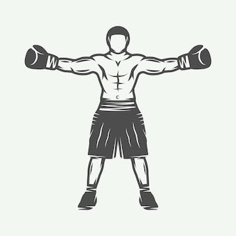 Boxer rétro vintage peut être utilisé pour le logo