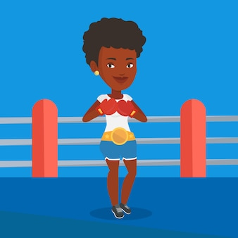 Boxeur confiant dans l'illustration vectorielle de l'anneau.