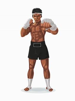 Boxeur de thaïlande dans la pose de combat, illustration.