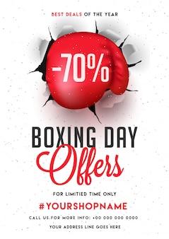 Boxing day, bannière de vente, affiche ou flyer design avec offre de réduction.