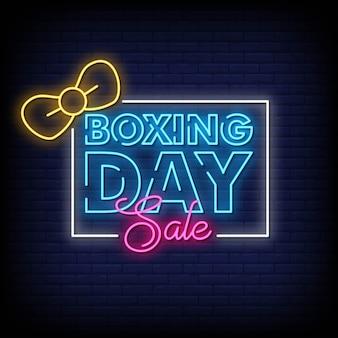 Boxing day sale enseignes au néon style texte vecteur