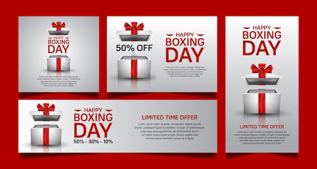 Boxing day set vector design for sale banner template