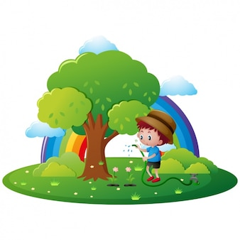 Boy arroser un arbre