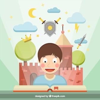 Boy lecture d'histoires fantastiques