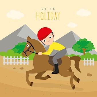 Boy ride racehorse sport vecteur de personnage de dessin animé en plein air