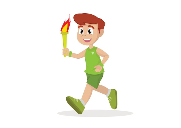Boy running torch.