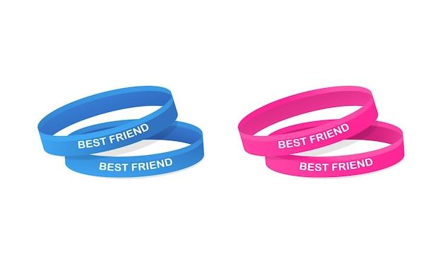 Bracelet best friends de couleur bleu et rose. bonne journée entre amis. vecteur eps 10