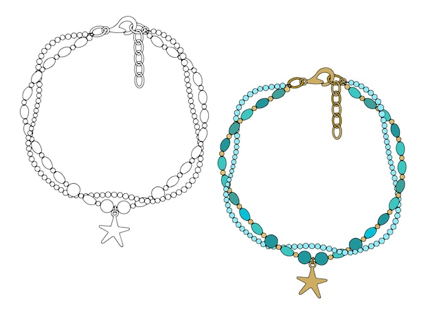 Bracelet avec un pendentif en forme d'étoile de mer.