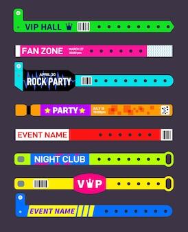 Bracelets événementiels. bracelets en papier d'entrée de festival de fête. maquette de billet d'invitation au concert. bracelet d'entrée de divertissements musicaux