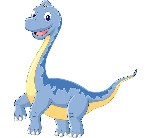 Brachiosaure dinosaure dessin animé sur fond blanc