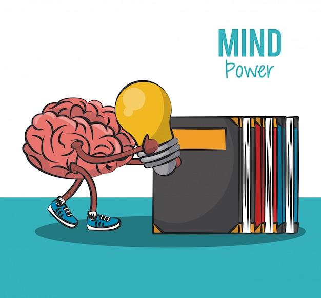 Brain holding grande idée et passage pour livres pile vector illustration graphique design