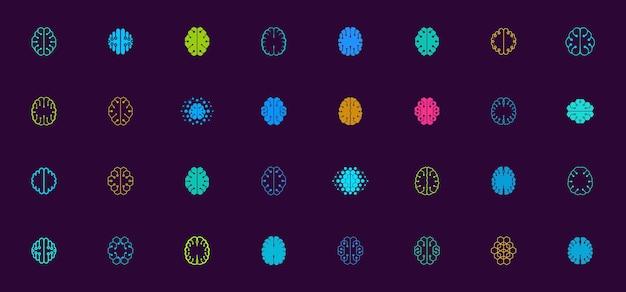 Brain logo design, une collection de modèles de logo abstraits pour les identités d'entreprise et d'entreprise technologique